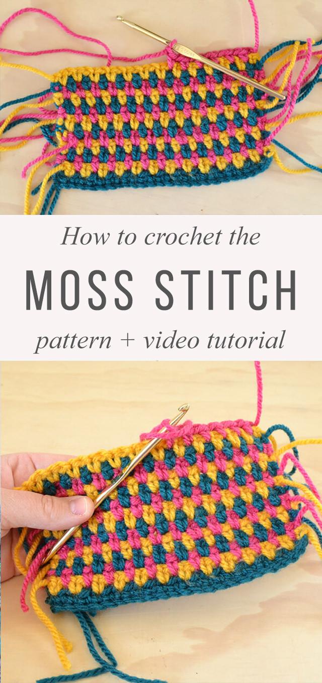 Moss Stitch Crochet Pattern Tutorial