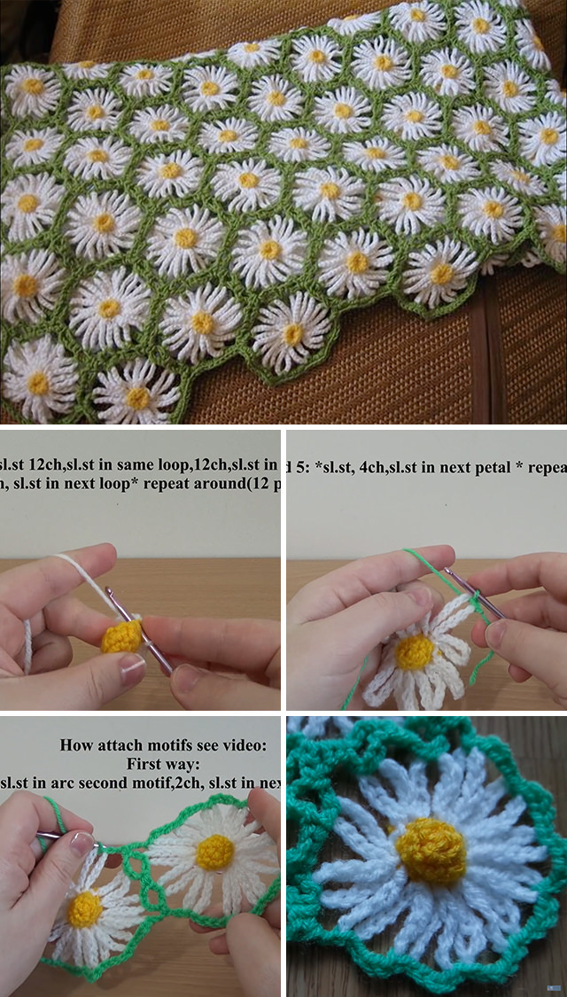 Daisy Crochet Flowers Blanket Tutorial Crochetbeja