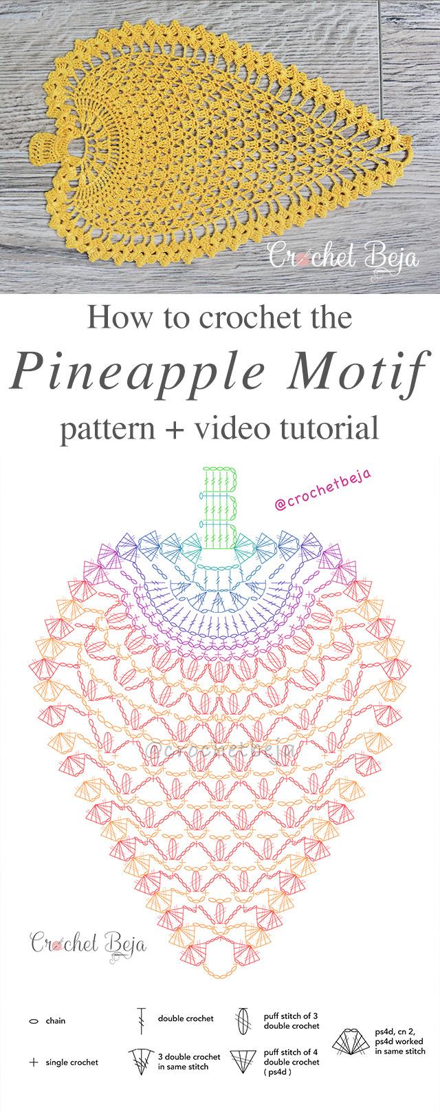 Pineapple Motif Crochet Pattern Tutorial Crochetbeja