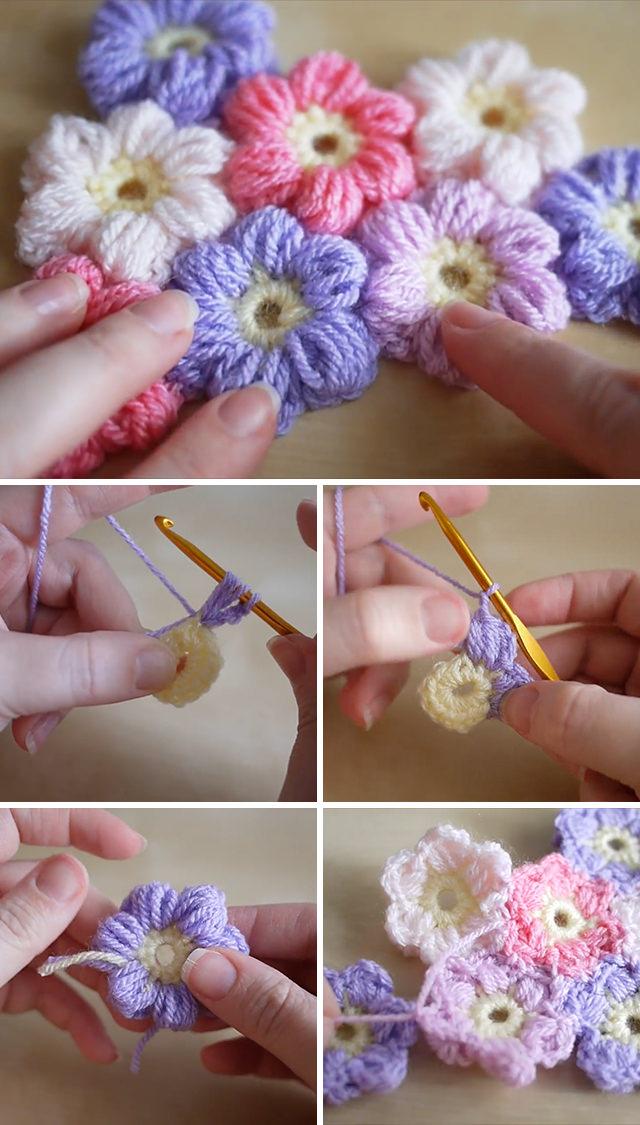 Puff Flowers Crochet Pattern